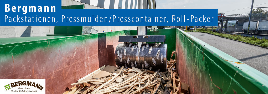 Bergmann - Packstationen, Pressmulden/Presscontainer, Roll-Packer